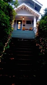 Holiday lights up the front steps