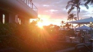 Sunset by the hotel
