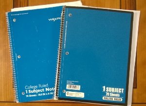 Two blue spiral notebooks