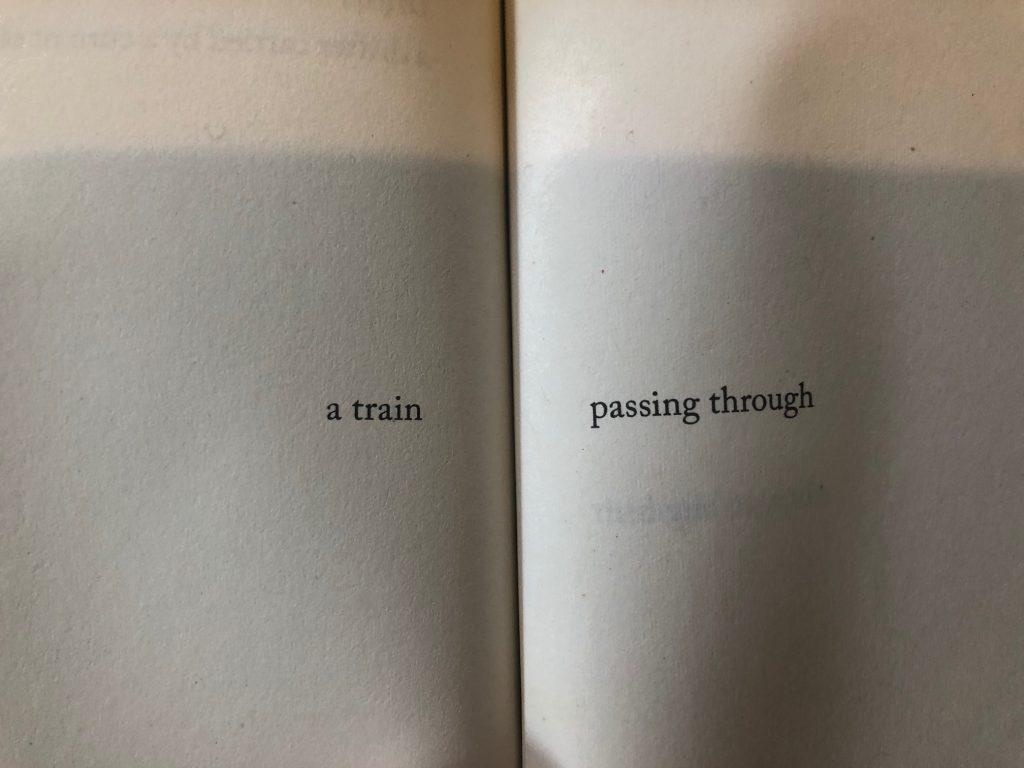 a train (binding) passing through